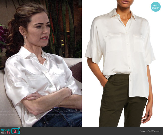 Vince Button-Down Silk Satin Blouse worn by Victoria Newman (Amelia Heinle) on The Young & the Restless