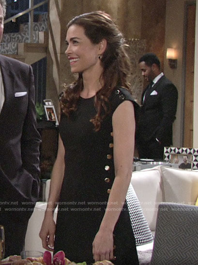 Victoria's black dress with gold buttons on The Young and the Restless