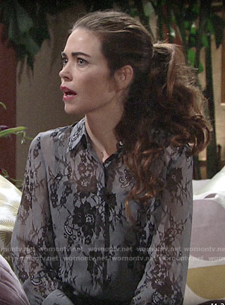 Victoria's grey lace print blouse on The Young and the Restless