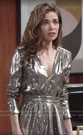Victoria's metallic v-neck dress on The Young and the Restless