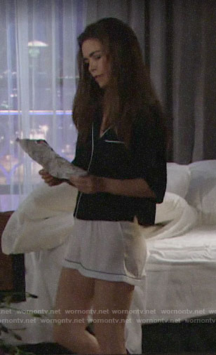 Victoria's navy and white short pajamas on The Young and the Restless