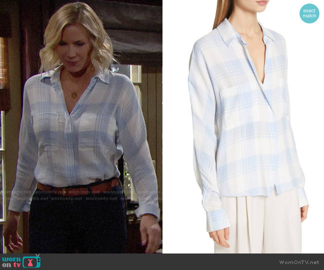 Vince Heathered Plaid Top worn by Brooke Logan (Katherine Kelly Lang) on The Bold & the Beautiful