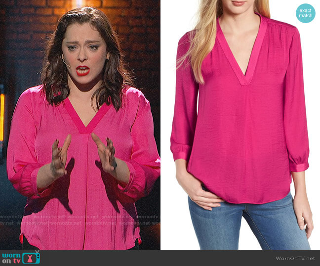 Vince Camuto Rumple Fabric Blouse worn by Rebecca Bunch (Rachel Bloom) on Crazy Ex-Girlfriend