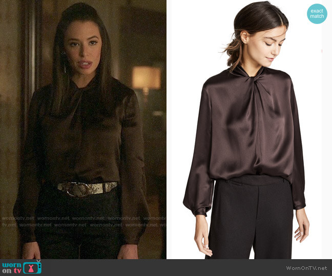 Vince Knotted Silk Blouse worn by Tessa (Chloe Bridges) on Charmed