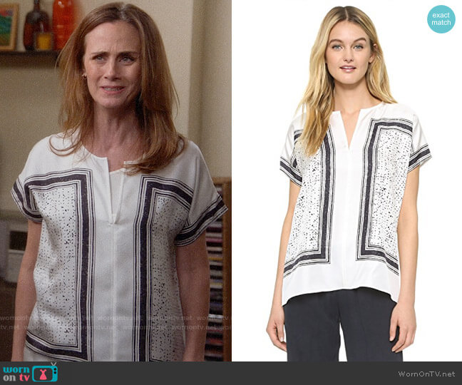Vince Scarf Print Blouse worn by Maya (Diane Farr) on Splitting Up Together