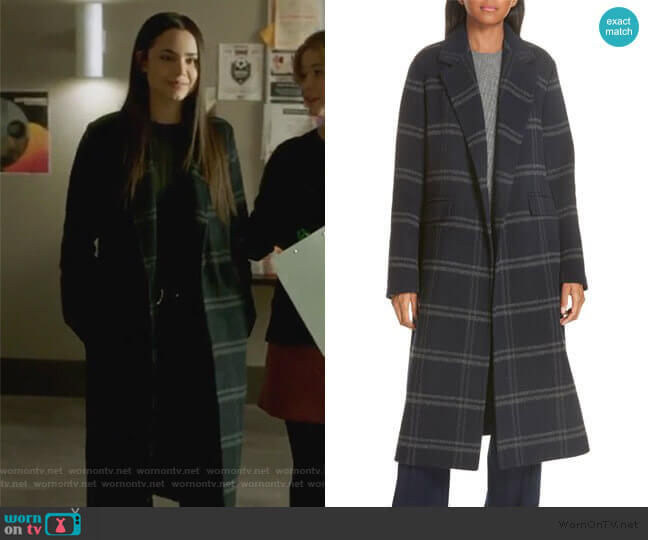 Shadow Plaid Coat by Vince worn by Ava Jalali (Sofia Carson) on PLL The Perfectionists