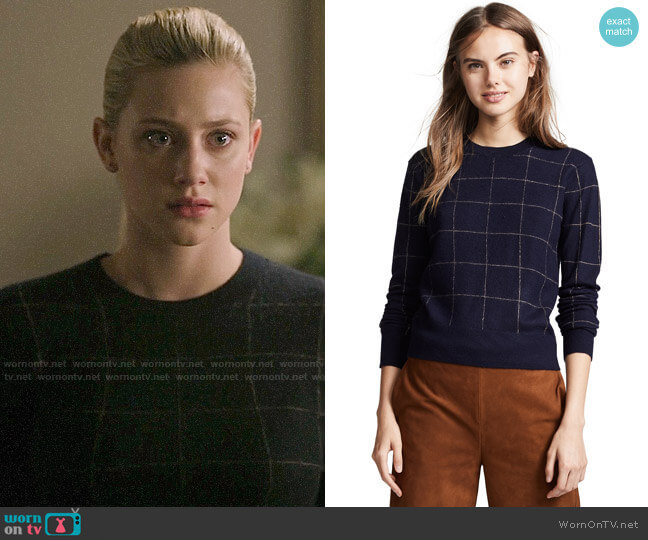 Vince Windowpane Check Cashmere Sweater worn by Betty Cooper (Lili Reinhart) on Riverdale