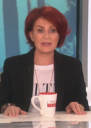 Sharon's white Valentino logo tee on The Talk