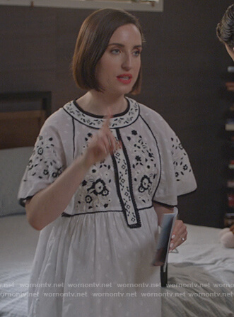 Jen's white embroidered dress on Life in Pieces
