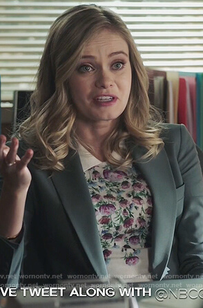Amber's white floral sweater on Good Girls