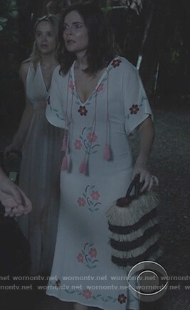 Heather's floral embroidered tassel dress on Life in Pieces