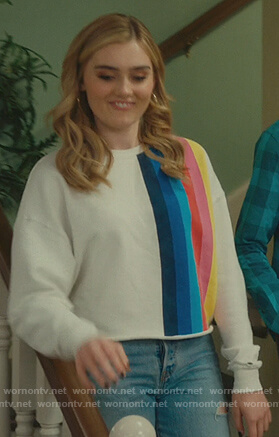 Taylor's white rainbow striped sweatshirt on American Housewife