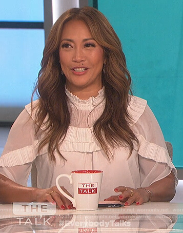 Carrie's white ruffled blouse on The Talk