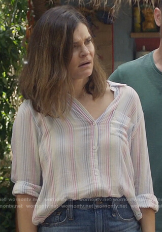 Heather's white striped blouse on Life in Pieces