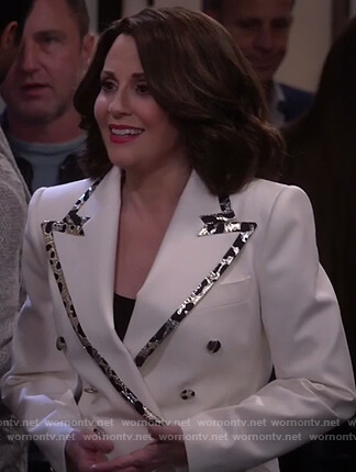 Karen's white trim blazer on Will and Grace