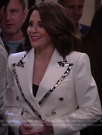 Karen's white trim blazer on Will and Grace