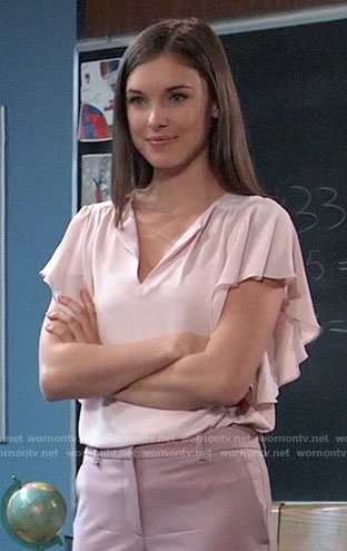 Willow's pink flutter sleeve top on General Hospital