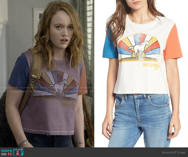 Wrangler Horse Graphic Crop Tee worn by Abby Hammond (Liv Hewson) on Santa Clarita Diet