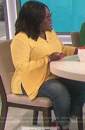 Sheryl's yellow bell sleeve top on The Talk