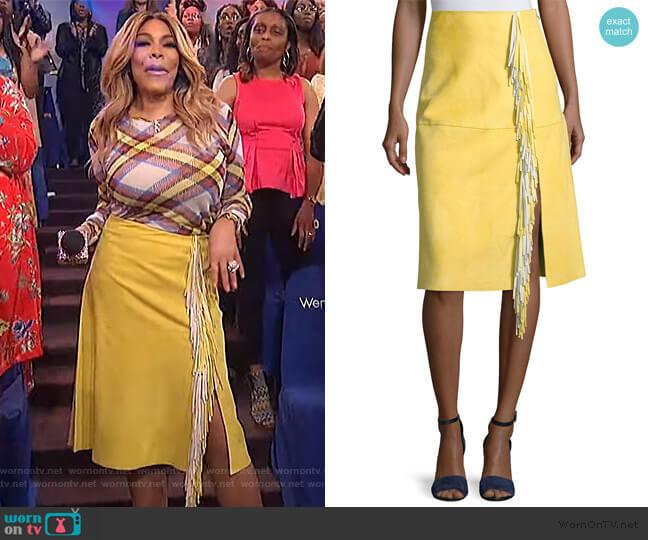 Side-Slit Fringe Suede Skirt by Diane von Furstenberg worn by Wendy Williams  on The Wendy Williams Show