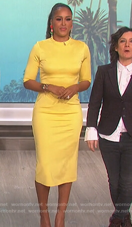 Eve's yellow midi dress on The Talk