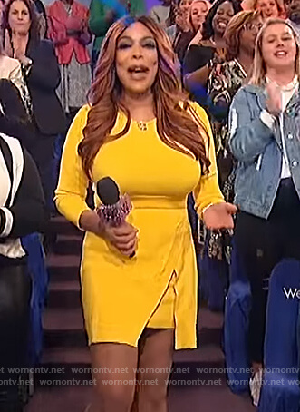Wendy's yellow overlay dress on The Wendy Williams Show