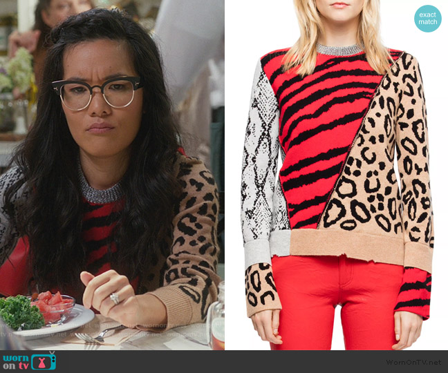 Delly Animal-Print Sweater by Zadig & Voltaire worn by Doris (Ali Wong) on American Housewife