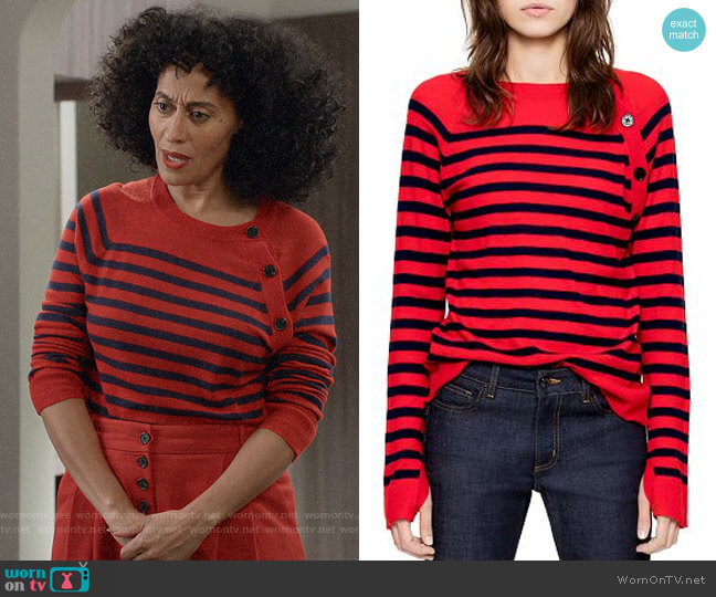 Zadig & Voltaire Reglis Stripes Cashmere Sweater worn by Rainbow Johnson (Tracee Ellis Ross) on Blackish