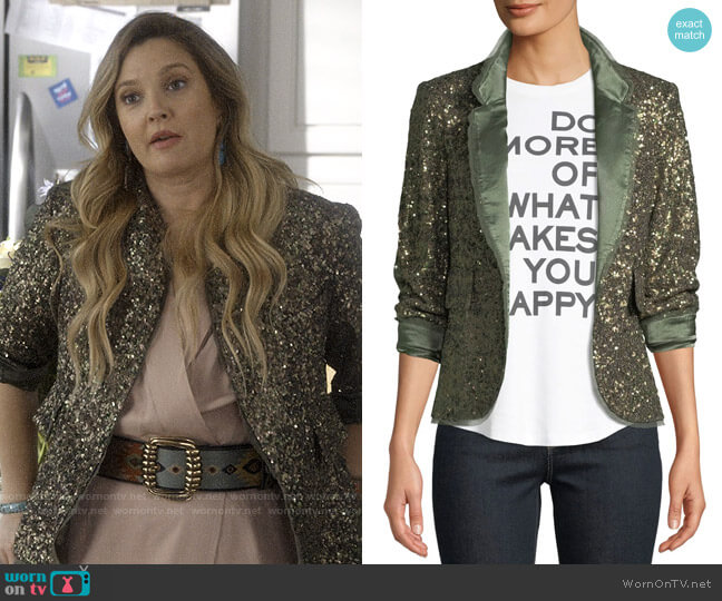 Zadig & Voltaire Verys Sequined Open-Front Blazer worn by Sheila Hammond (Drew Barrymore) on Santa Clarita Diet