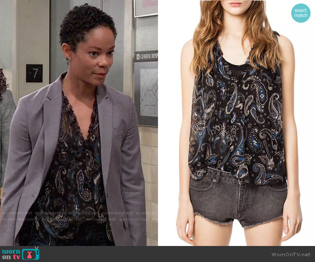 Zadig & Voltaire Thym Top worn by Valerie Spencer (Paulina Bugembe) on General Hospital