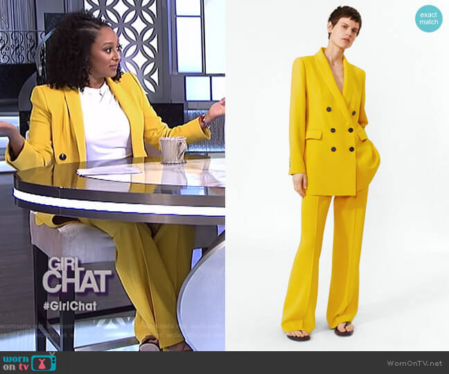Double Breasted Buttoned Blazer and Flared Pants by Zara worn by Tamera Mowry  on The Real