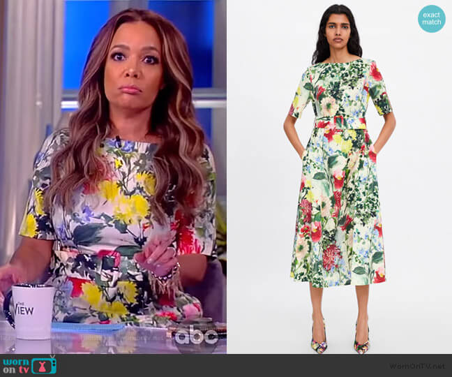 Floral Print Dress by Zara worn by Sunny Hostin  on The View