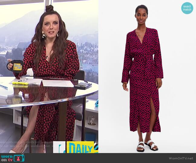 Polka Dot Dress by Zara worn by Melanie Bromley (Melanie Bromley) on E! News
