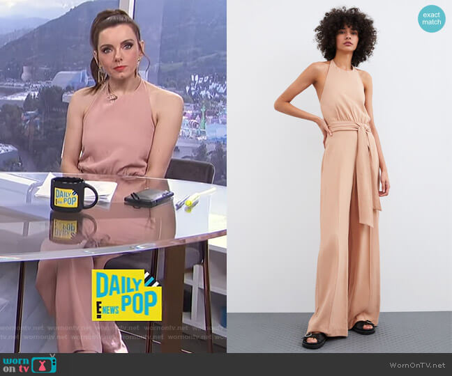 Long Rustic Jumpsuit by Zara worn by Melanie Bromley  on E! News