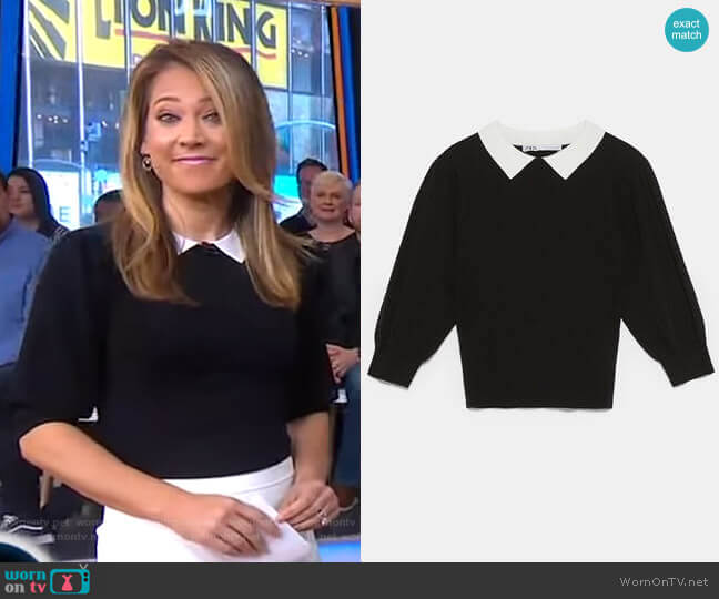 Sweater with Contrasting Collar by Zara worn by Ginger Zee (Ginger Zee) on Good Morning America