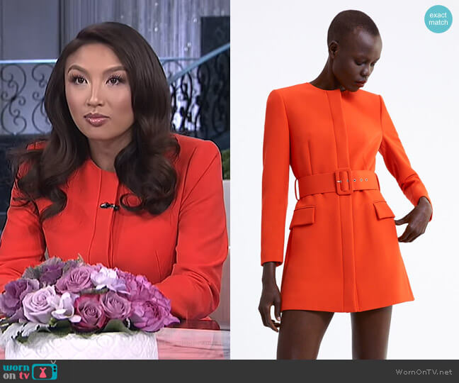 Belted Frock Coat by Zara worn by Jeannie Mai (Jeannie Mai) on The Real
