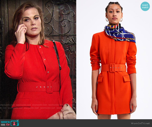 Zara Belted Frock Coat worn by Phyllis Newman (Gina Tognoni) on The Young & the Restless