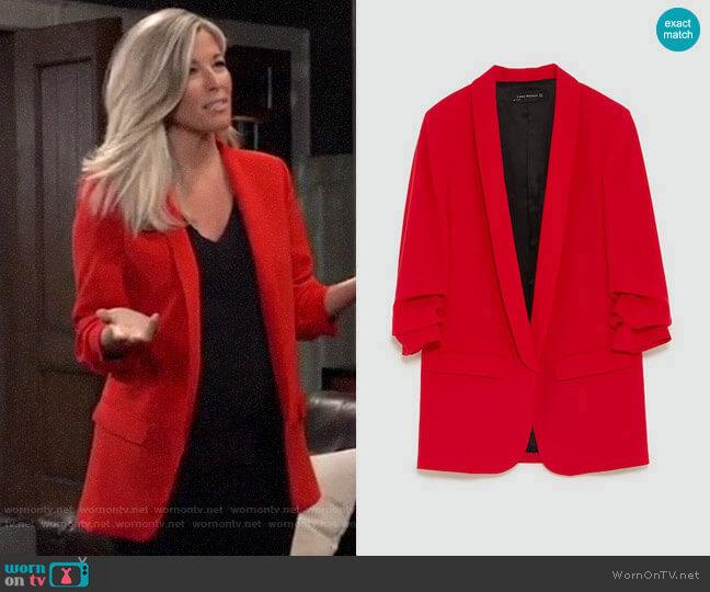 Zara Crepe Blazer worn by Carly Corinthos (Laura Wright) on General Hospital