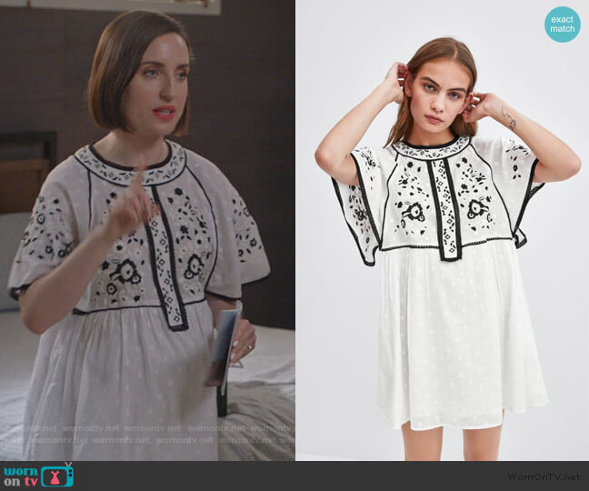 Embroidered Dress by Zara worn by Jennifer Short (Zoe Lister-Jones) on Life in Pieces