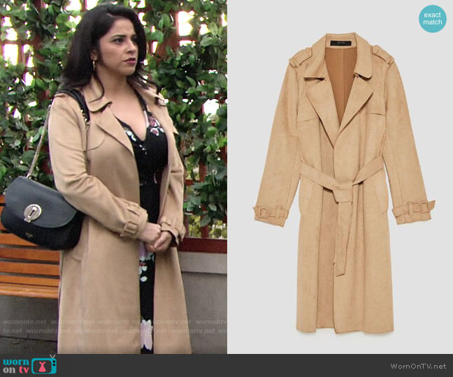 Zara Faux Suede Trench Coat worn by Mia Rosales (Noemi Gonzalez) on The Young & the Restless