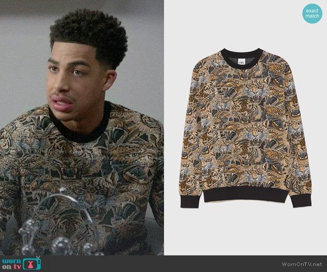 Zara Jacquard Tiger Sweatshirt worn by Andre Johnson Jr (Marcus Scribner) on Blackish