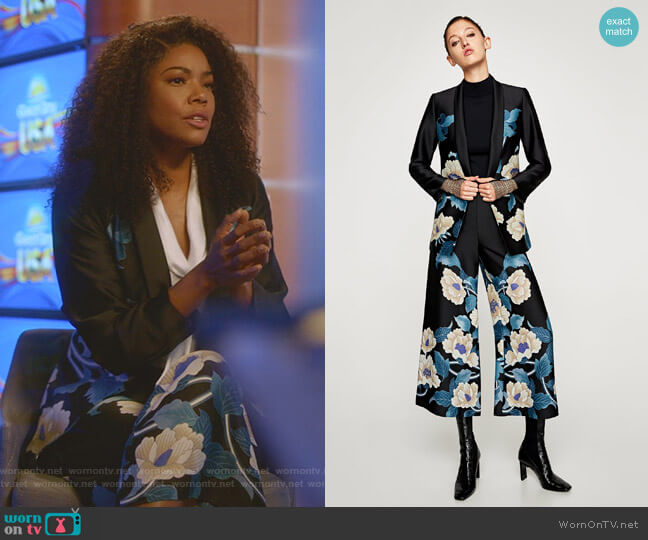 Kimono Style Floral Jacket with Sash Belt and Floral Print Culottes by Zara worn by Mary Jane Paul (Gabrielle Union) on Being Mary Jane