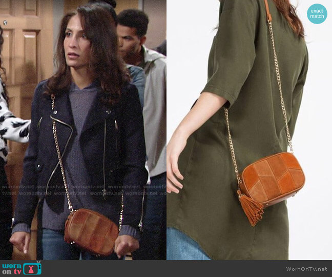 Zara Mini Suede Crossbody Bag worn by Lily Winters (Christel Khalil) on The Young & the Restless