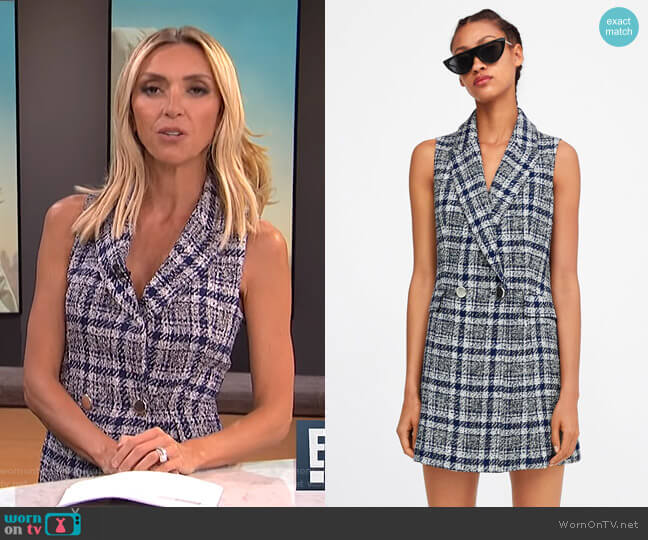 Plaid Tweed Vest by Zara worn by Giuliana Rancic (Giuliana Rancic) on E! News