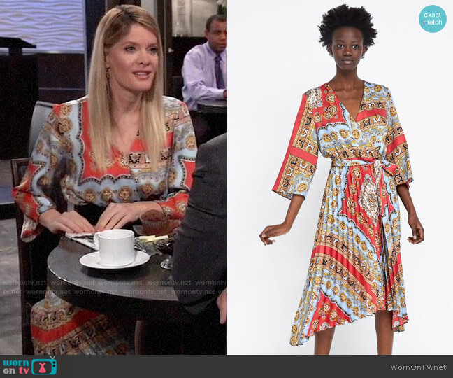 Zara Printed Pleated Dress worn by Nina Reeves (Michelle Stafford) on General Hospital