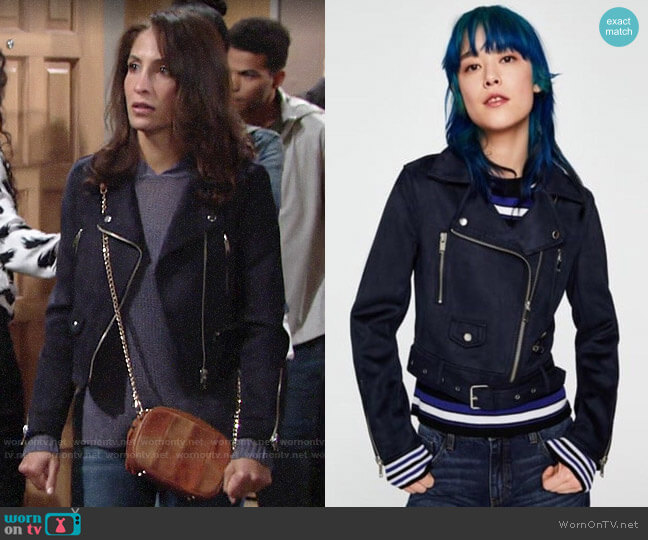 Zara Suede Biker Jacket worn by Lily Winters (Christel Khalil) on The Young & the Restless