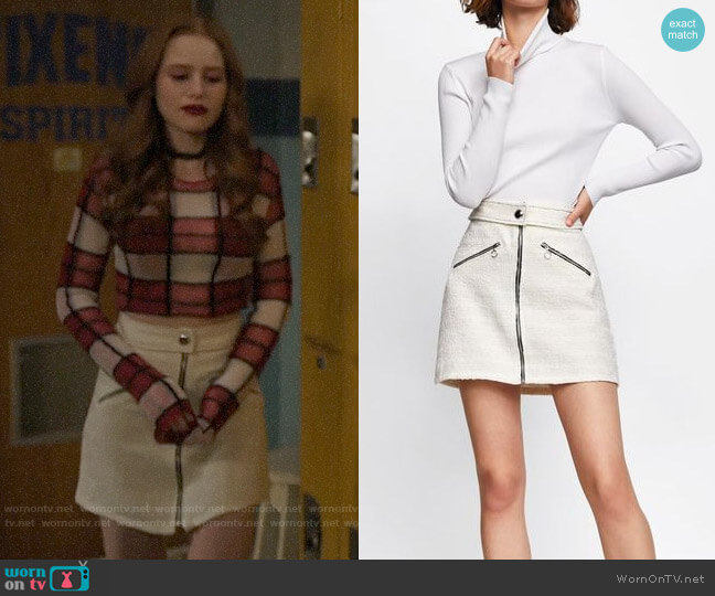 Zara Tweed Mini Skirt worn by Cheryl Blossom (Madelaine Petsch) on Riverdale
