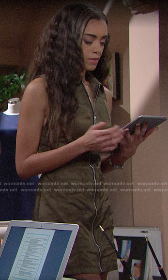 Zoe's green zip front dress on The Bold and the Beautiful