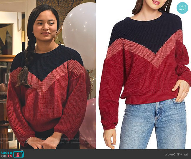 Chevron Crewneck Sweater by 1.State worn by Xuan (Tiana Le) on No Good Nick