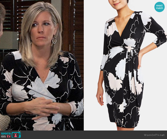 A Pea in the Pod Maternity Printed Wrap Dress worn by Carly Corinthos (Laura Wright) on General Hospital